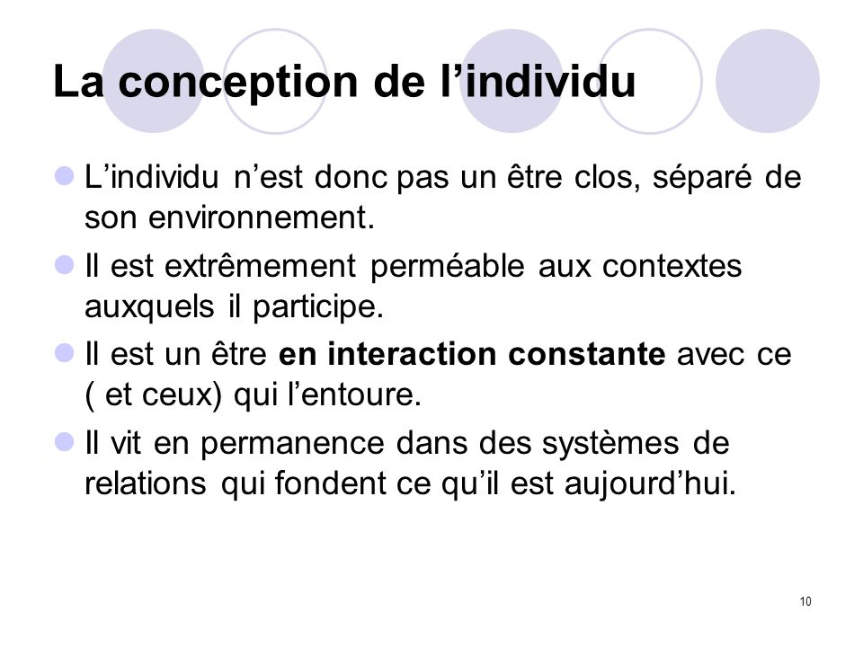 La conception de l'individu