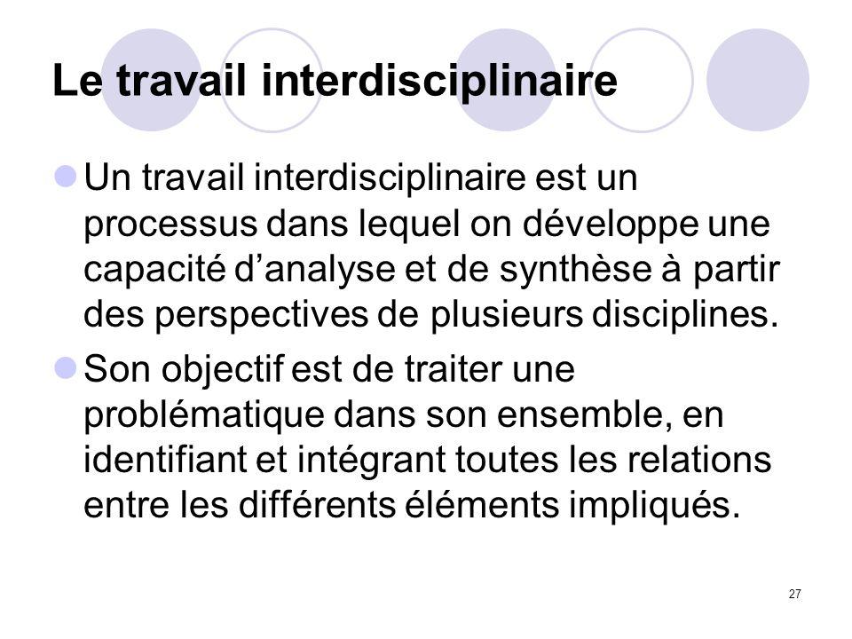 Le travail interdisciplinaire
