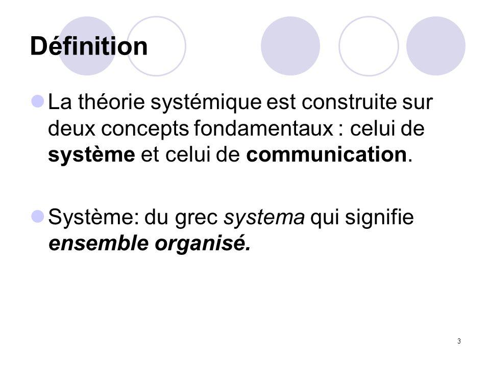 Définition La théorie systémique est construite sur deux concepts fondamentaux : celui de système et celui de communication.