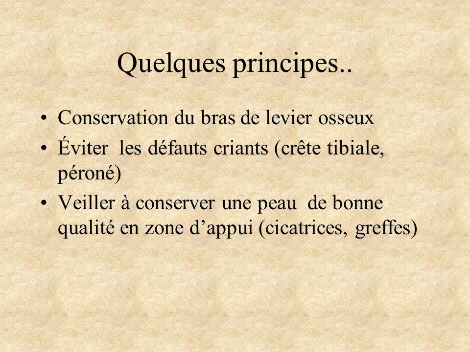 Quelques principes.. Conservation du bras de levier osseux