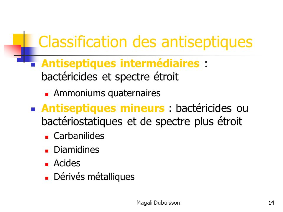 Classification des antiseptiques