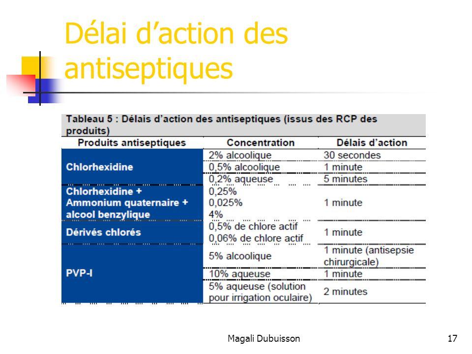 Délai d'action des antiseptiques