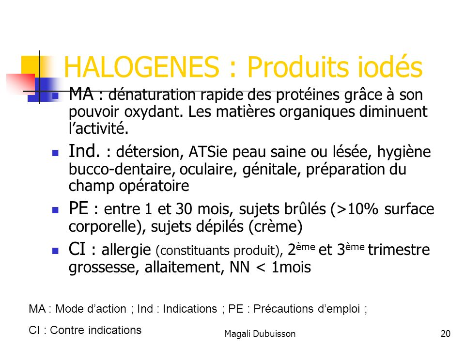 HALOGENES : Produits iodés