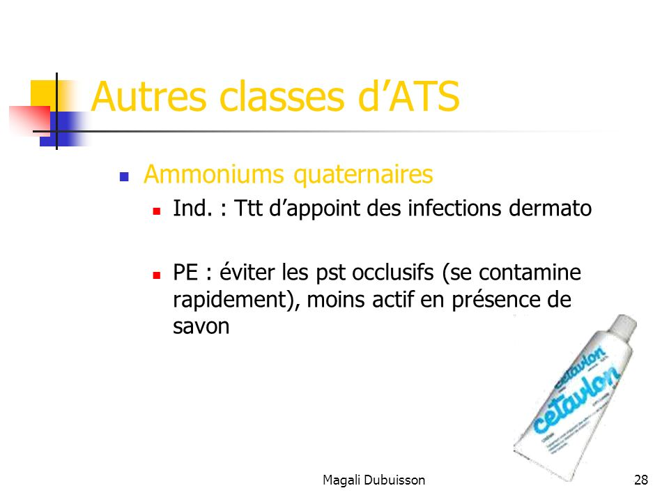Autres classes d'ATS Ammoniums quaternaires
