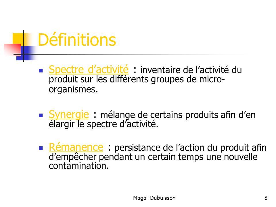 Définitions Spectre d'activité : inventaire de l'activité du produit sur les différents groupes de micro-organismes.