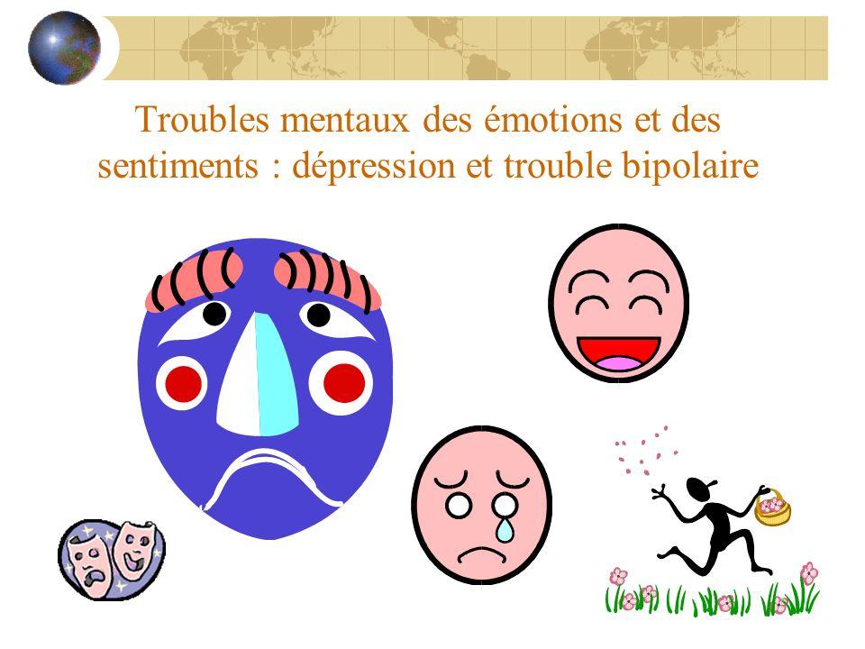 Troubles mentaux des émotions et des sentiments : dépression et trouble bipolaire