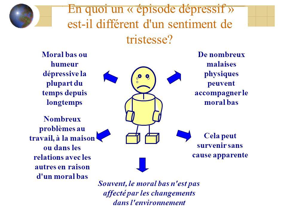 En quoi un « épisode dépressif » est-il différent d un sentiment de tristesse
