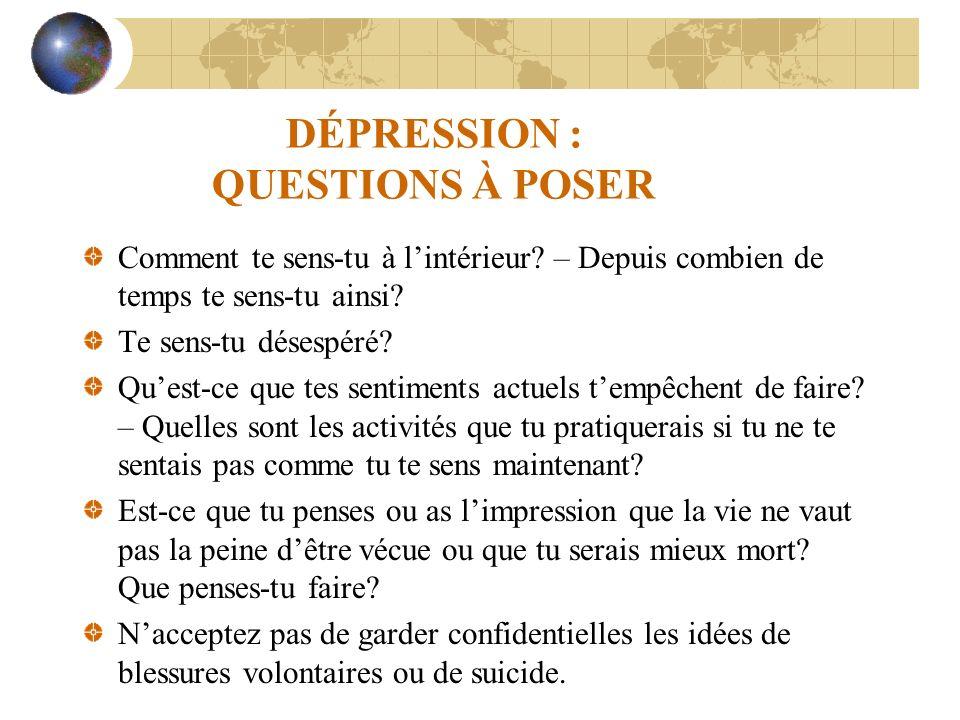 DÉPRESSION : QUESTIONS À POSER