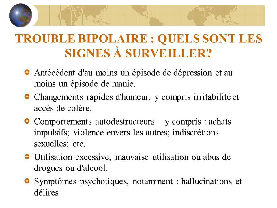 TROUBLE BIPOLAIRE : QUELS SONT LES SIGNES À SURVEILLER