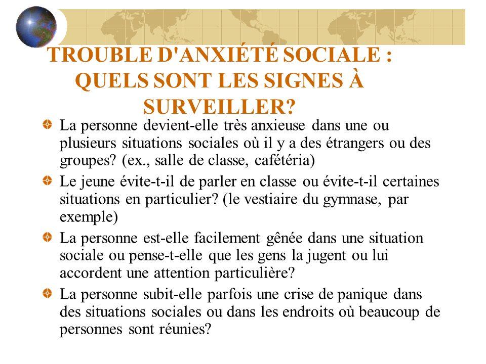 TROUBLE D ANXIÉTÉ SOCIALE : QUELS SONT LES SIGNES À SURVEILLER