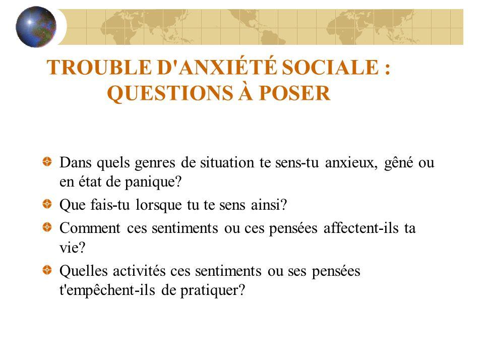 TROUBLE D ANXIÉTÉ SOCIALE : QUESTIONS À POSER