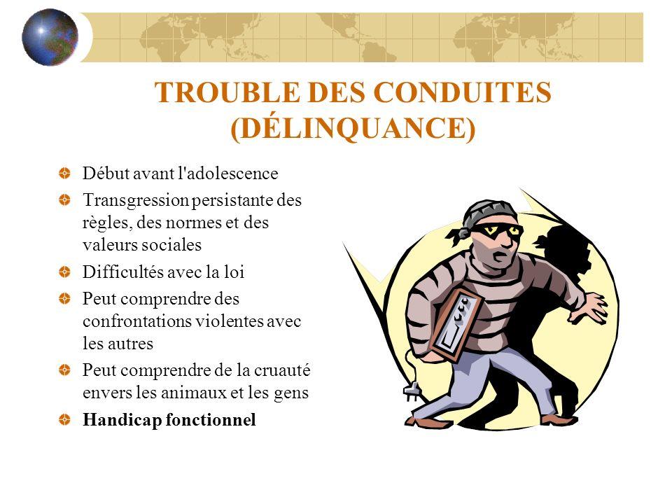TROUBLE DES CONDUITES (DÉLINQUANCE)