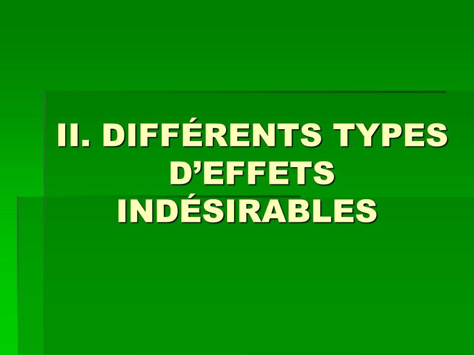 II. DIFFÉRENTS TYPES D'EFFETS INDÉSIRABLES