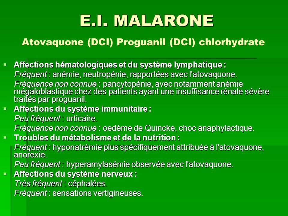 E.I. MALARONE Atovaquone (DCI) Proguanil (DCI) chlorhydrate
