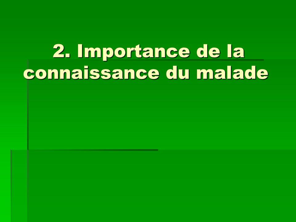 2. Importance de la connaissance du malade