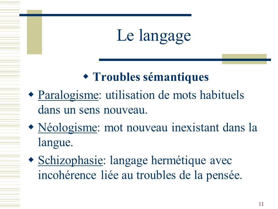 Le langage Troubles sémantiques