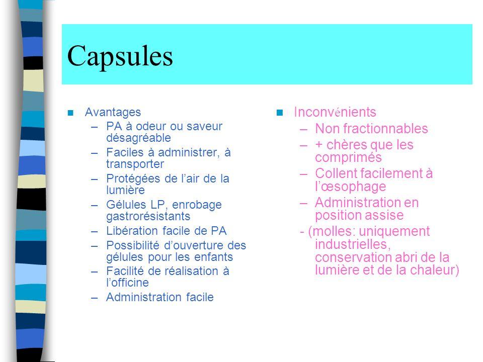 Capsules Inconvénients Non fractionnables + chères que les comprimés