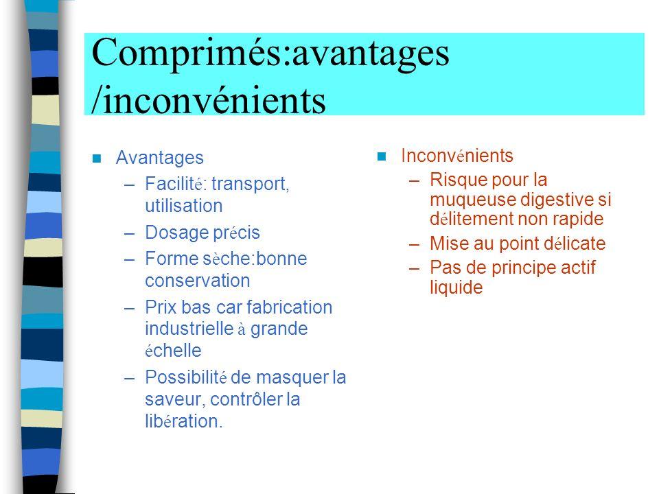 Comprimés:avantages /inconvénients