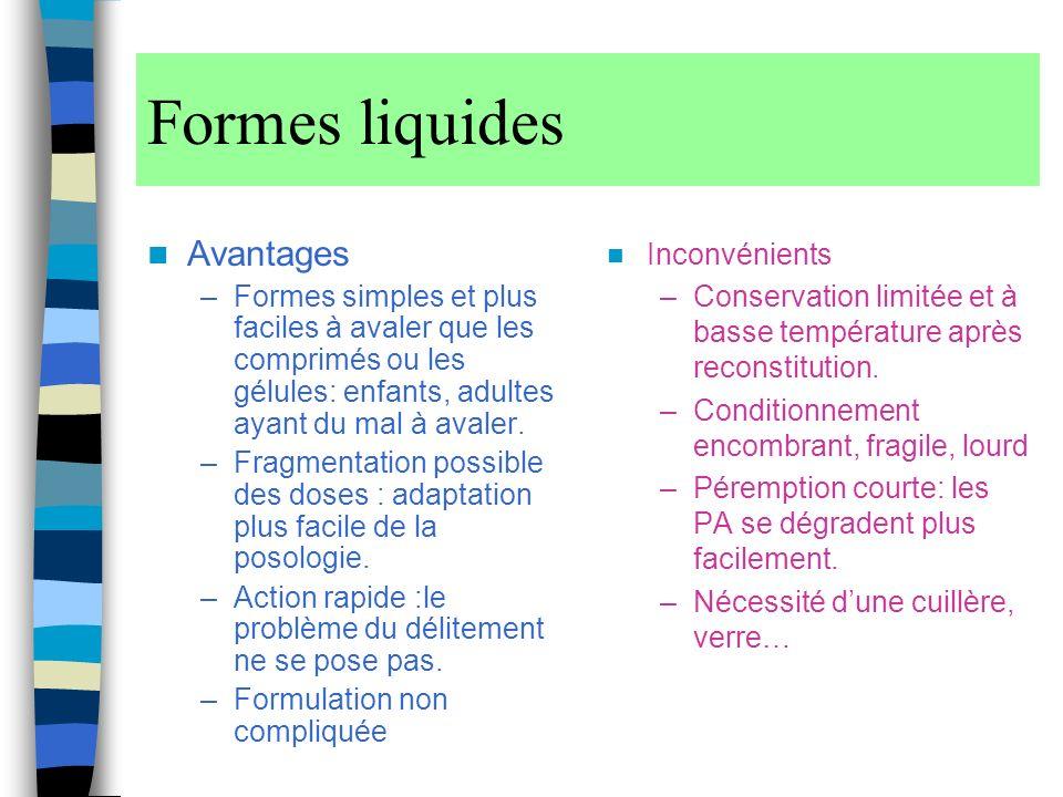 Formes liquides Avantages
