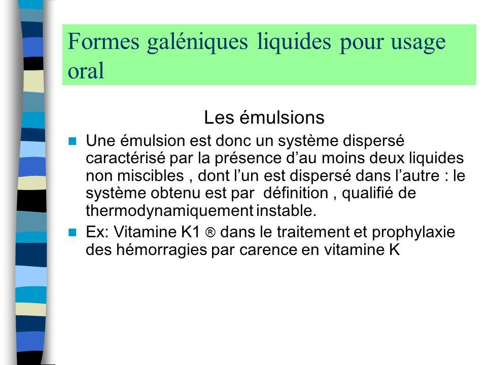 Formes galéniques liquides pour usage oral
