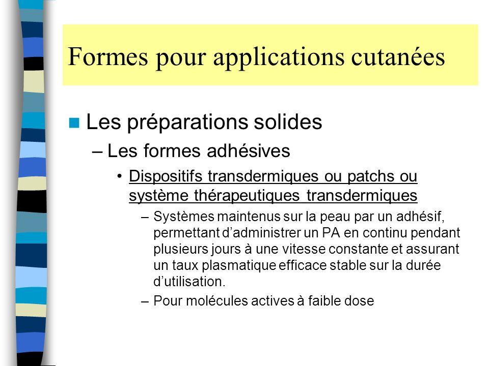 Formes pour applications cutanées