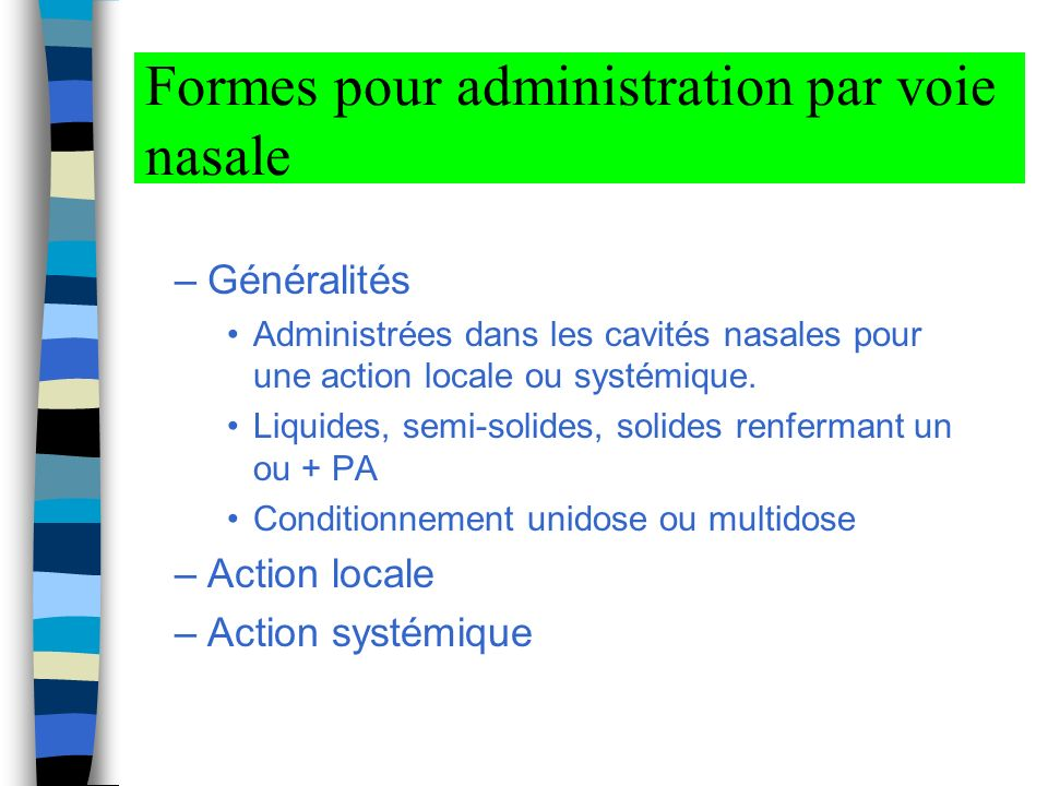 Formes pour administration par voie nasale