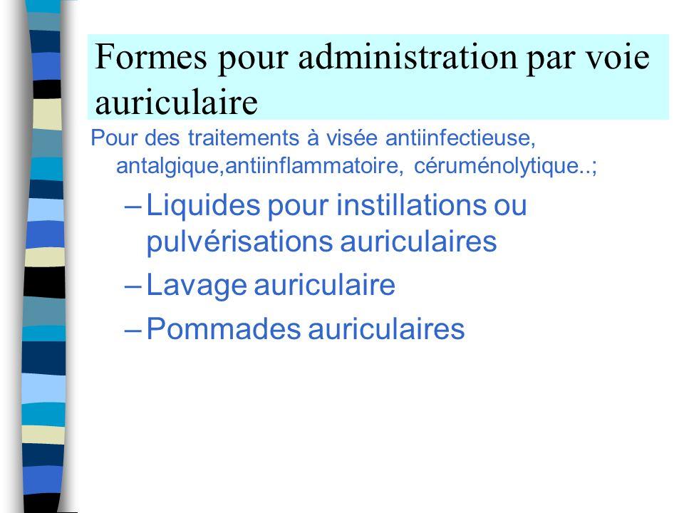 Formes pour administration par voie auriculaire