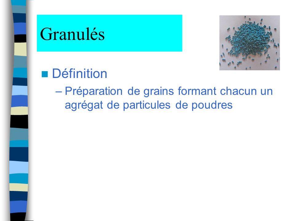 Granulés Définition Préparation de grains formant chacun un agrégat de particules de poudres