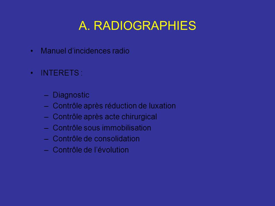 A. RADIOGRAPHIES Manuel d'incidences radio INTERETS : Diagnostic