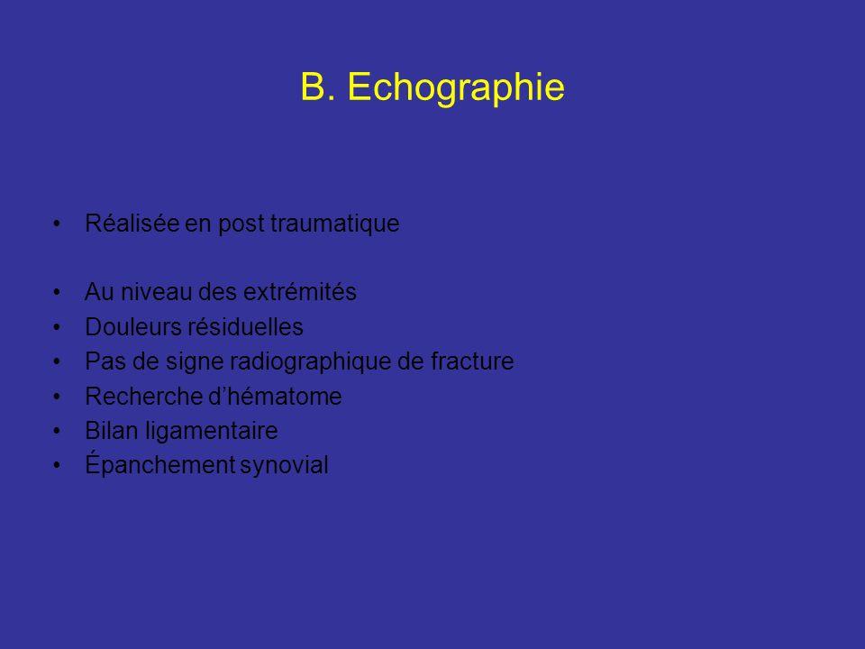 B. Echographie Réalisée en post traumatique Au niveau des extrémités