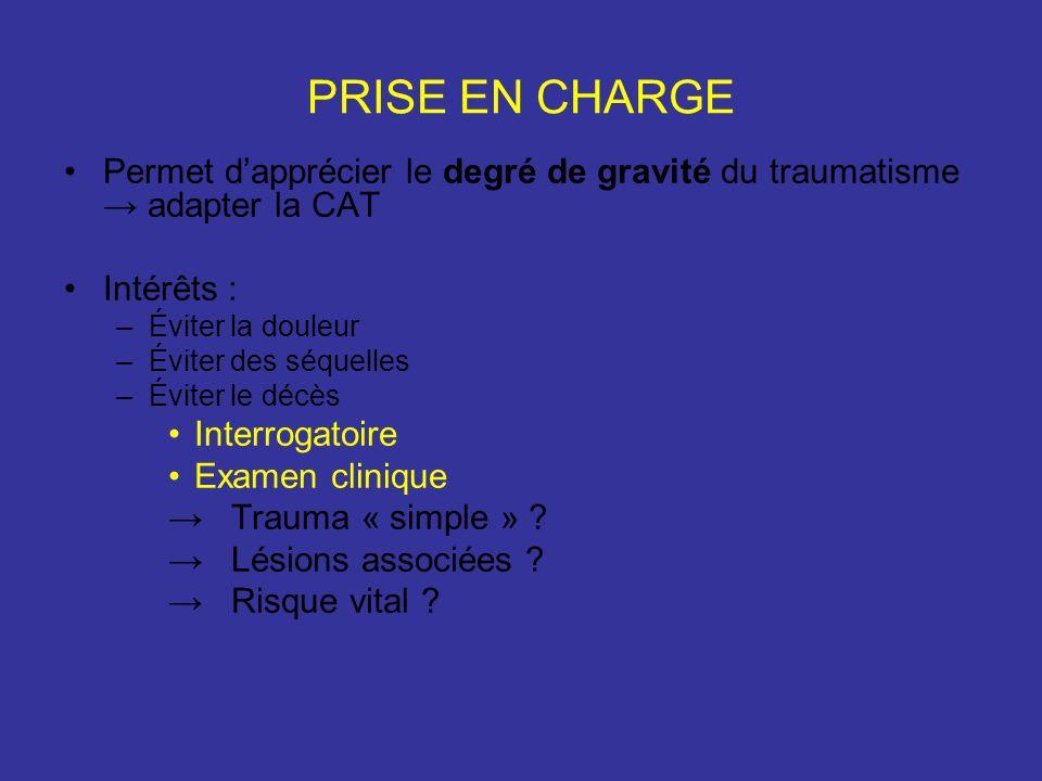 PRISE EN CHARGE Permet d'apprécier le degré de gravité du traumatisme → adapter la CAT. Intérêts :