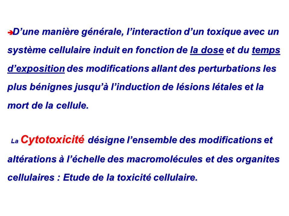 D'une manière générale, l'interaction d'un toxique avec un système cellulaire induit en fonction de la dose et du temps d'exposition des modifications allant des perturbations les plus bénignes jusqu'à l'induction de lésions létales et la mort de la cellule.