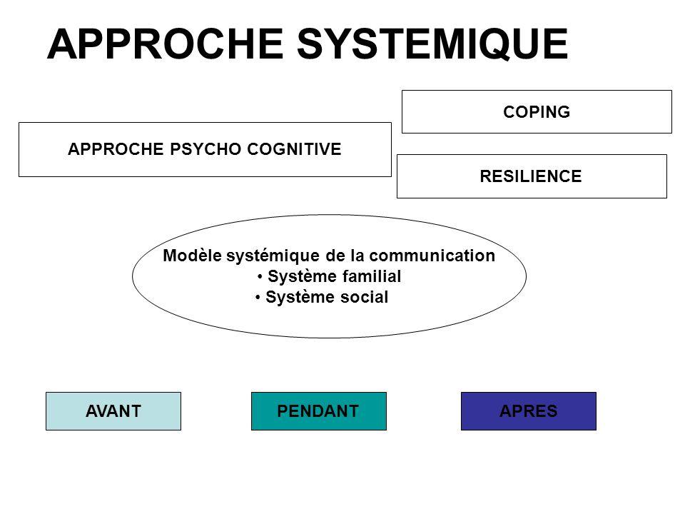 APPROCHE PSYCHO COGNITIVE Modèle systémique de la communication