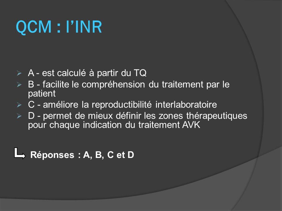 QCM : l'INR A - est calculé à partir du TQ