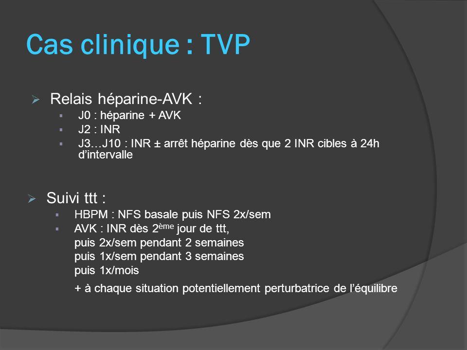 Cas clinique : TVP Relais héparine-AVK : Suivi ttt :