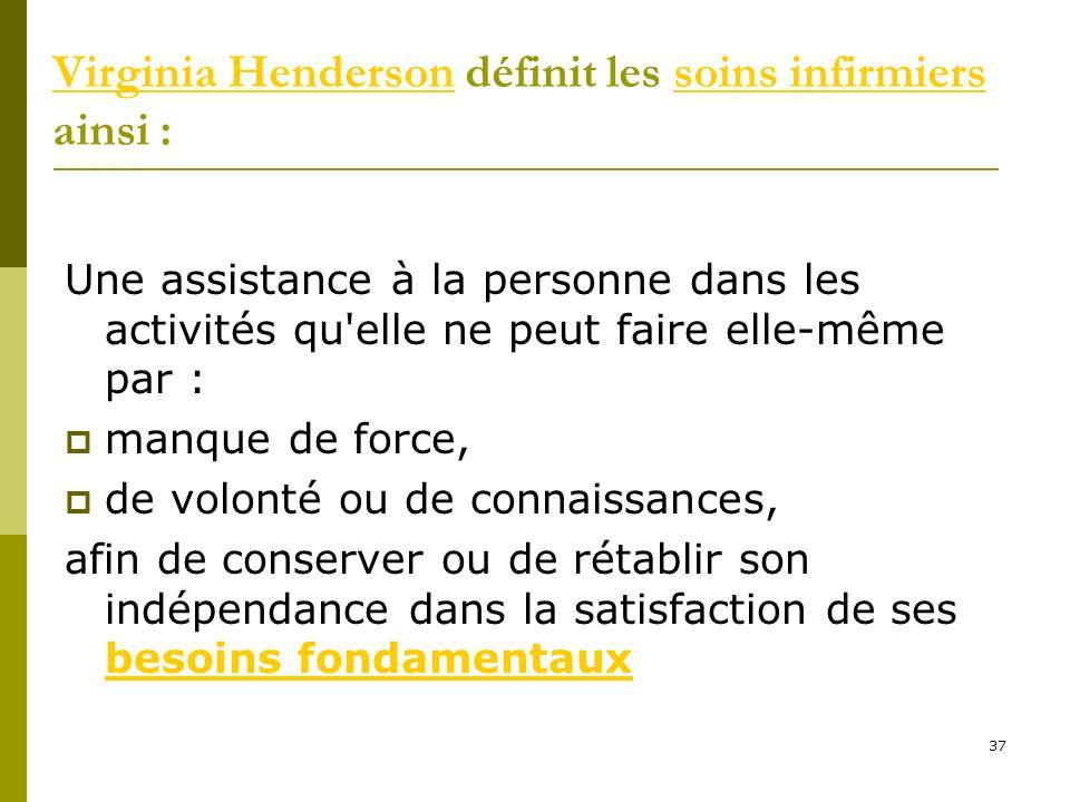 Virginia Henderson définit les soins infirmiers ainsi :