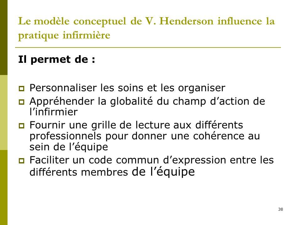 Le modèle conceptuel de V. Henderson influence la pratique infirmière