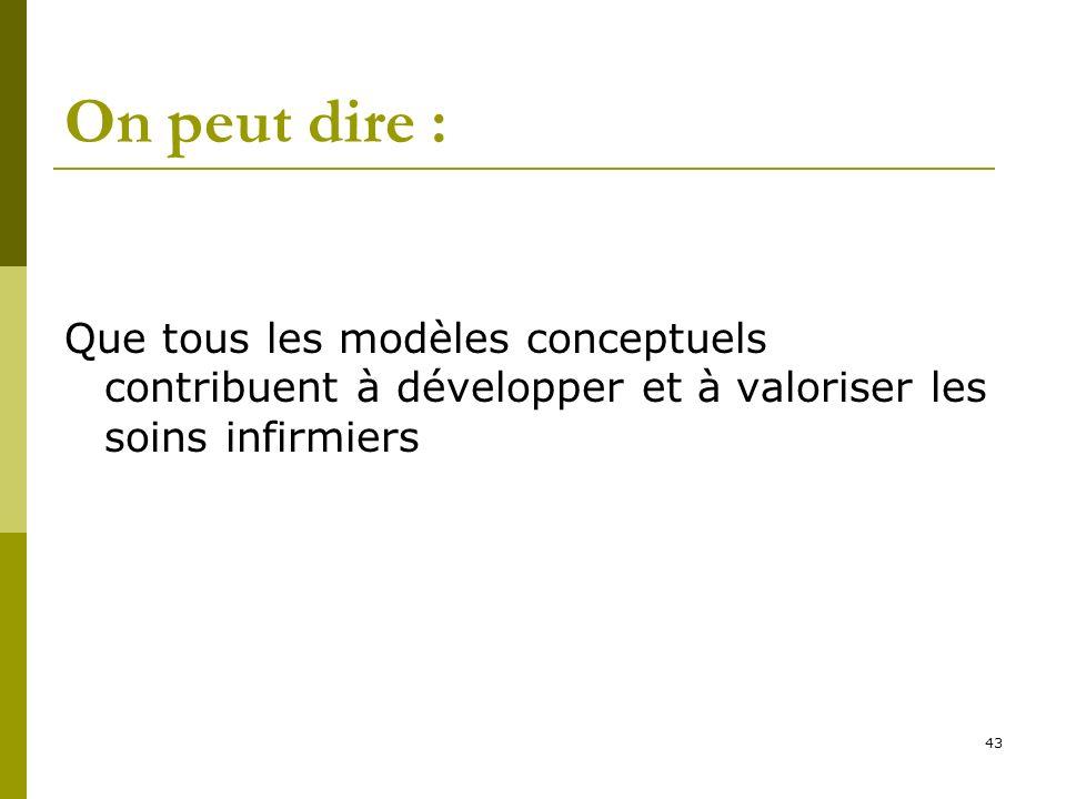 On peut dire : Que tous les modèles conceptuels contribuent à développer et à valoriser les soins infirmiers.