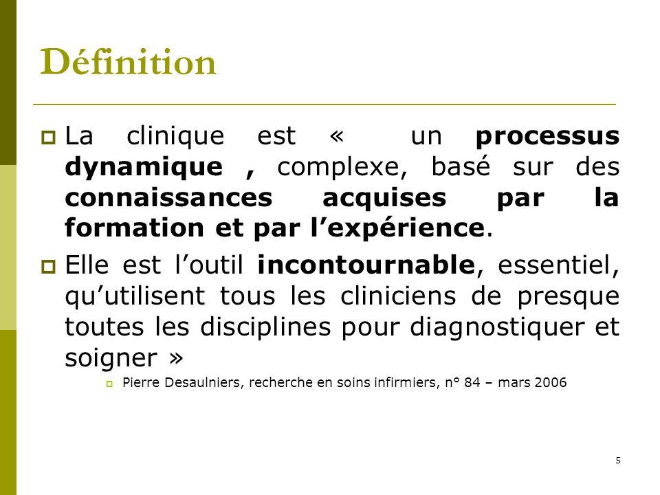 Définition La clinique est « un processus dynamique , complexe, basé sur des connaissances acquises par la formation et par l'expérience.