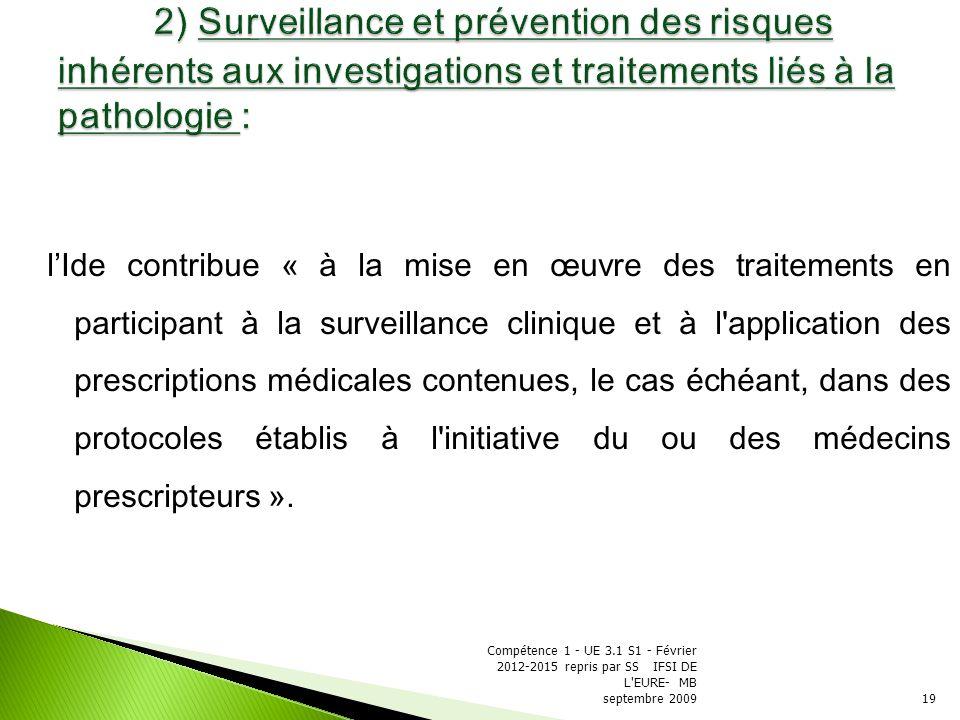 2) Surveillance et prévention des risques inhérents aux investigations et traitements liés à la pathologie :