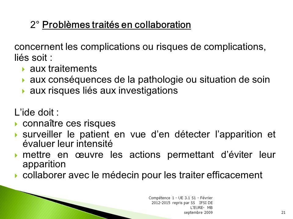 2° Problèmes traités en collaboration