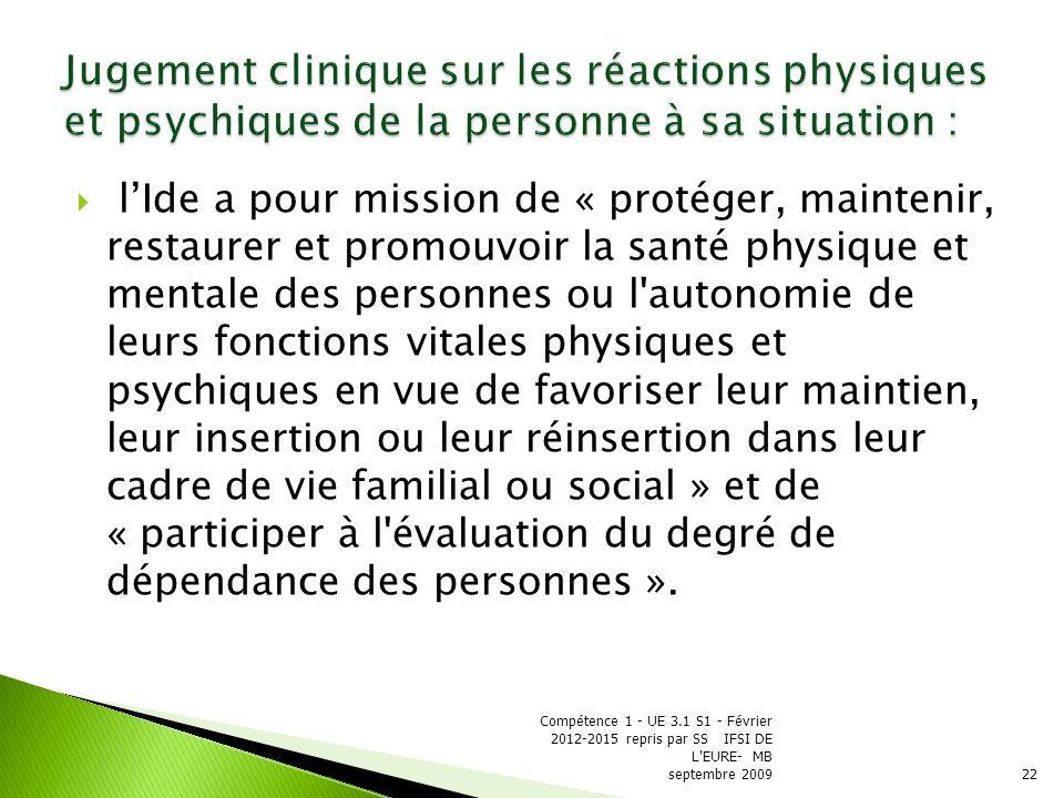 Jugement clinique sur les réactions physiques et psychiques de la personne à sa situation :