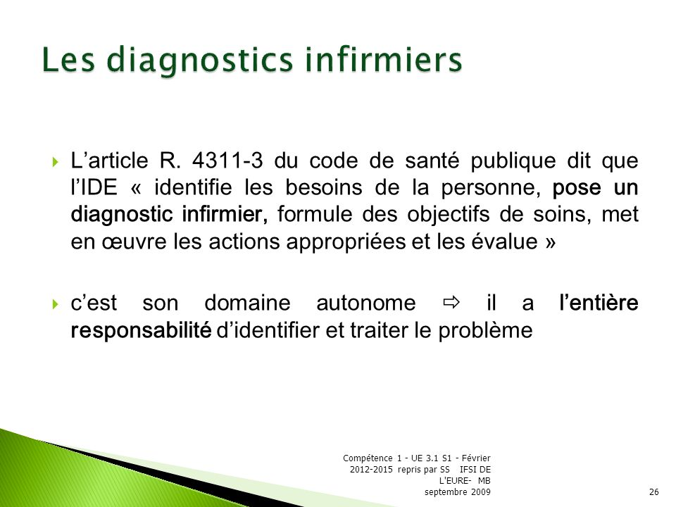 Les diagnostics infirmiers