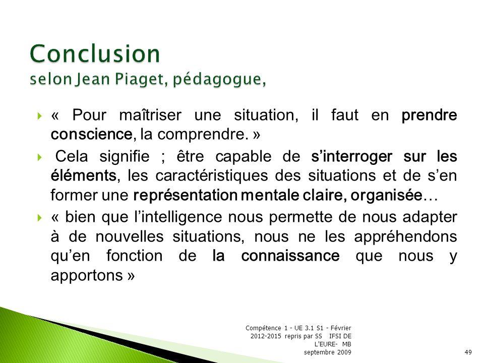 Conclusion selon Jean Piaget, pédagogue,