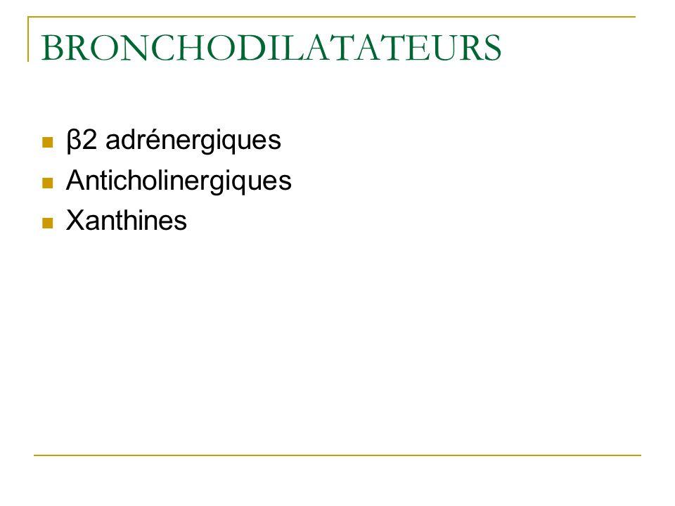 BRONCHODILATATEURS β2 adrénergiques Anticholinergiques Xanthines