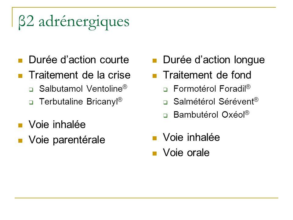 β2 adrénergiques Durée d'action courte Traitement de la crise