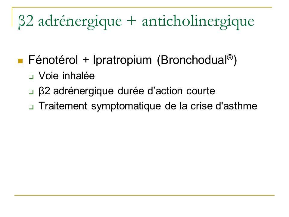 β2 adrénergique + anticholinergique