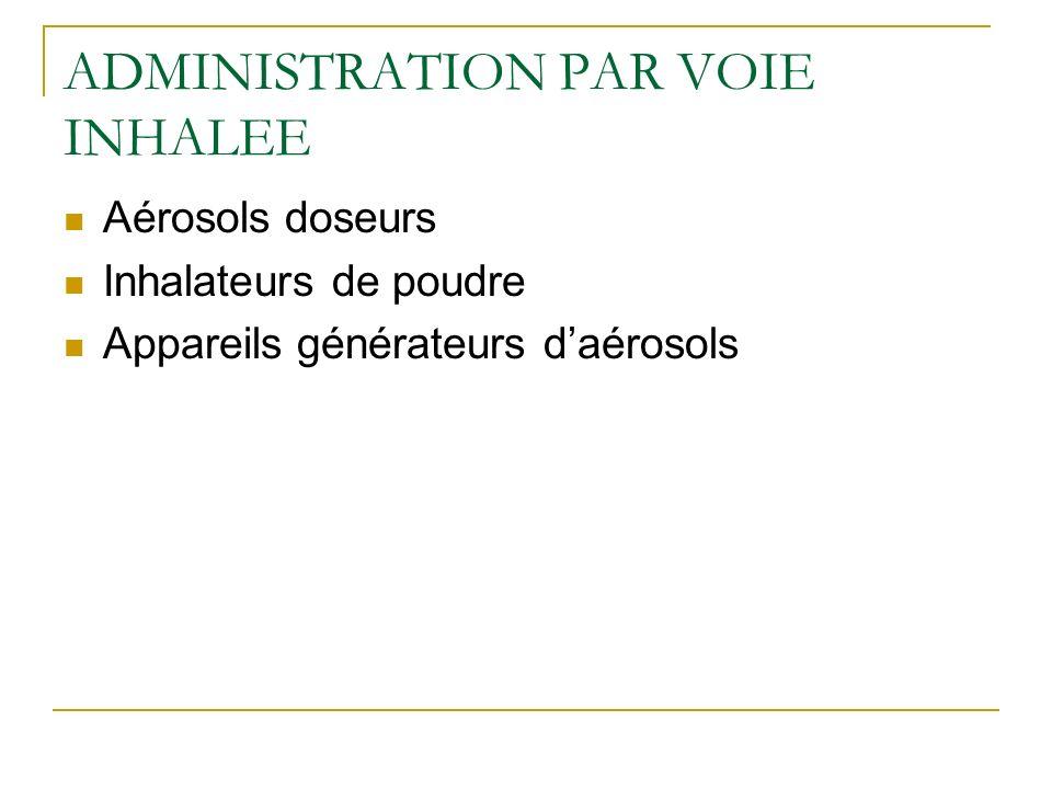 ADMINISTRATION PAR VOIE INHALEE