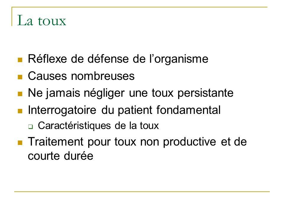 La toux Réflexe de défense de l'organisme Causes nombreuses