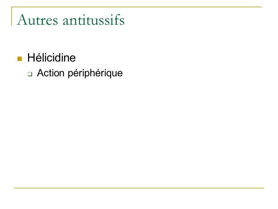 Autres antitussifs Hélicidine Action périphérique